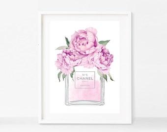 Chanel No 5 Perfume Bottle Purple Peonies Faux Silver Art Print - Instant Digital Download