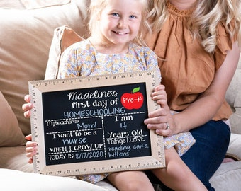 First Day of School Chalkboard, Reusable First Day of School Chalkboard, Ruler Sign, Back to School Sign, Last Day of School