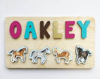 Horse Wooden Name Puzzle for Toddler Girls