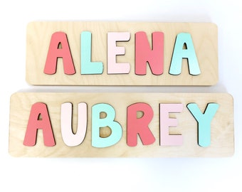 Name Puzzle Coral And Mint Easter Gift For Girl First Birthday Baby Shower
