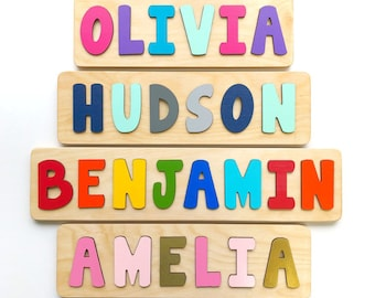 Wooden Name Puzzle, Gift for Toddler