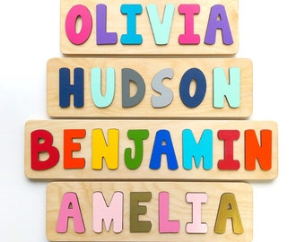 Wooden Name Puzzle Easter Gift For Toddler First Or Second Birthday Basket Filler