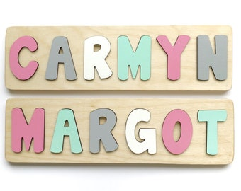 Name Puzzle for Toddler, Pink and Grey Nursery Decor