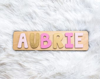 Wooden Name Puzzle for Girl in Pink and Gold