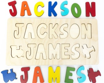 Wooden Name Puzzle Easter Gift For Kids Basket Filler Two Names Birthday One Year Old Boy