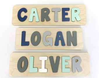 Name Puzzle Mint And Grey Nursery Wooden Navy First Birthday Gift Second Baby Shower Boy