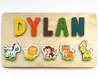 Jungle Animals Wooden Name Puzzle for Toddlers