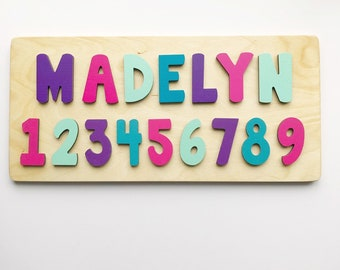 Wooden & Handcrafted Toys Childrens Handcrafted Wooden Name Puzzle With Pegs Ture 100% Guarantee Educational