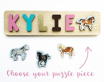 Horse Name Puzzle for Toddler Girls Birthday and Christmas