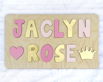 Pink And Gold Wooden Name Puzzle Easter Gift For Girl First Birthday Basket Filler
