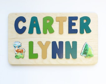 Deer Wooden Name Puzzle for Toddler Boys