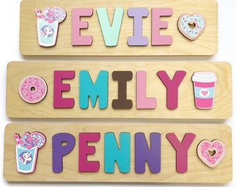 Name Puzzle for Toddler Girl, Donuts Unicorns and Coffee