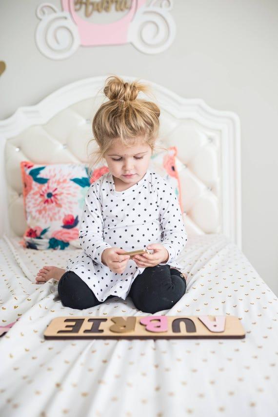 Prénom Puzzle, chambre d'enfant rose et or, premier cadeau d'anniversaire pour fille, cadeau de naissance, cadeau pour enfant en bas âge, premier cadeau d'anniversaire, personnalisé nom