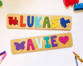 First birthday gift etsy wooden name puzzle name puzzles for toddlers first birthday first birthday gift negle Image collections