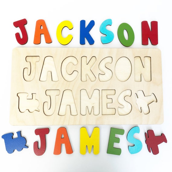 Wooden Name Puzzle Two Names Birthday Gift For One Year Old
