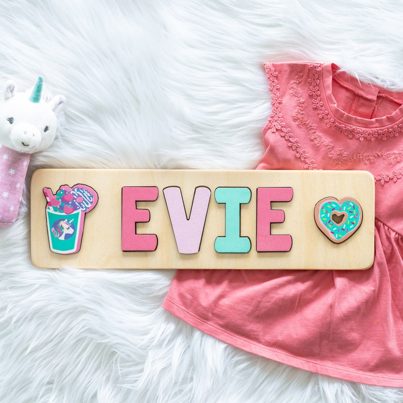 Name Puzzle for Toddler Girl Donuts and Coffee Christmas image 1