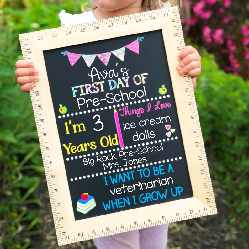 First Day of School Chalkboard  Reusable First Day of School sign