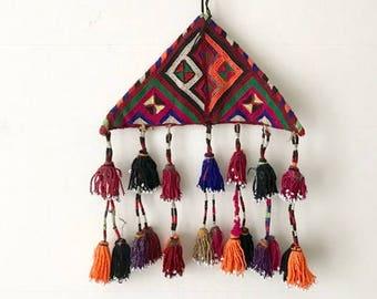 XL Vintage Kuchi Talasmanic Protection Amulet / Embroidered Tassel Wall Hanging / BoHo Nursery Tassel Mobile