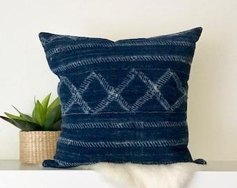 Indigo Mud Cloth Pillow / Mud Cloth Pillow Cover / 19x19 Pillow
