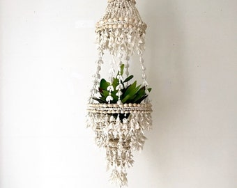 XLarge Shell Hanging Planter | Vintage Jungalow Cowrie Puka Shell Chandelier | Hanging Shell Plant Pot Plant Shell Display