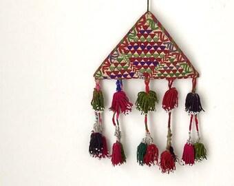 XL Vintage Kuchi Talasmanic Embroidered Amulet / Tassel Wall Hanging / BoHo Nursery Tassel Mobile