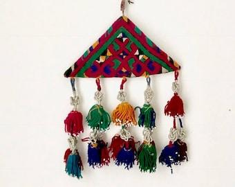 XL Vintage Tribal Wind Chime Amulet / Kuchi Talasmanic Embroidered Amulet / Tassel Wall Hanging / BoHo Nursery Tassel Mobile