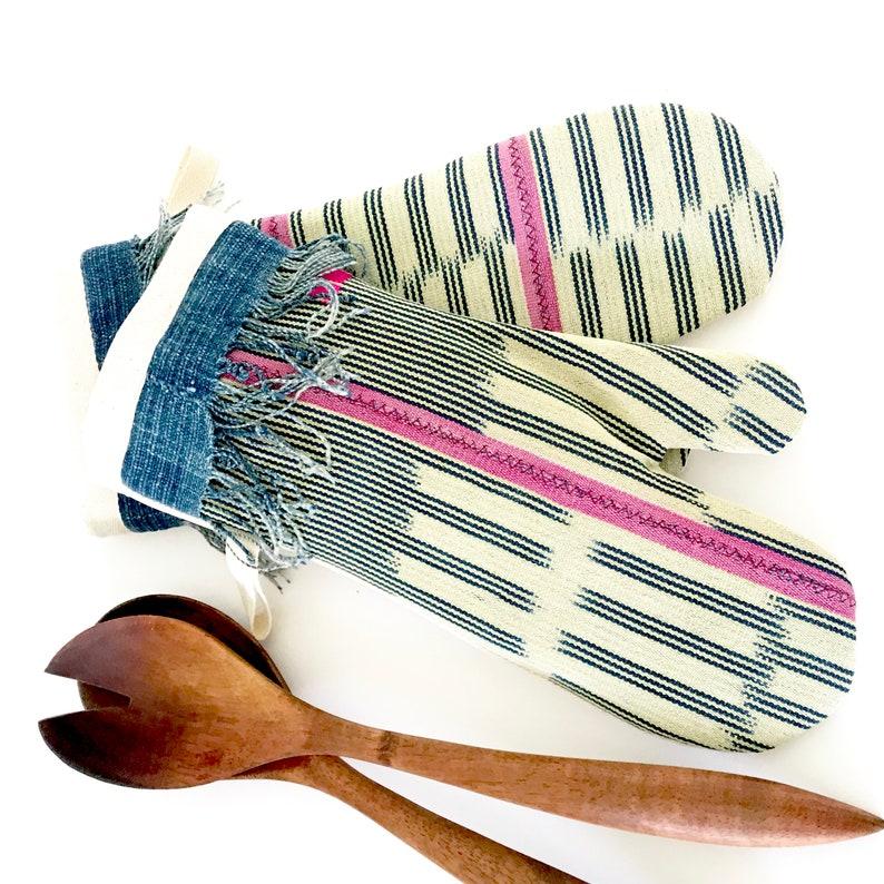 MudCloth Oven Mitts Farmhouse Xlong Pot Holders Set African Ikat Baule Pot Holders MudCloth Pot Holder