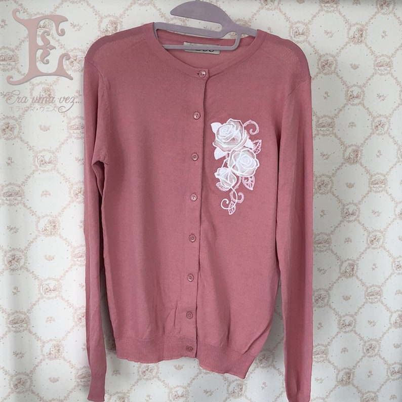 Embroidered long sleeve light cardigan Rose Pink