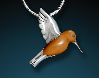 Silver Hummingbird Pendant - Hand Carved Tagua Nut