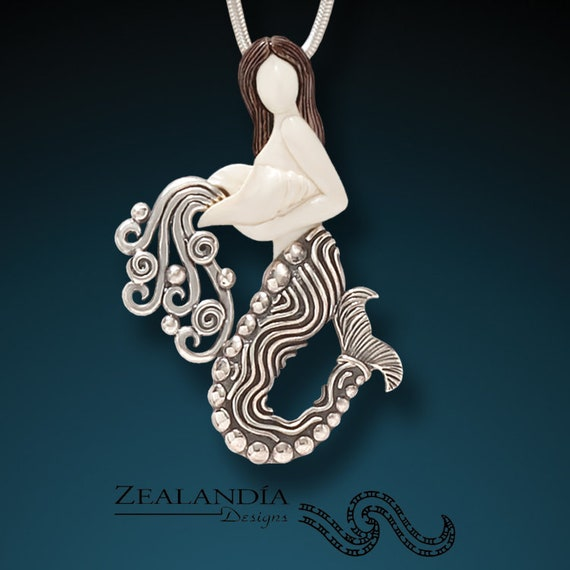 Mermaid And Conch Necklace Hand Carved Indonesian Cow Bone Etsy