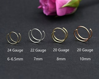 Double Nose Ring for Single Piercing Nose Hoop, Twist Nose Ring, Spiral Nose Hoop, Gold Nose Ring, Gold Nose Hoop, Spiral Hoop Earrings