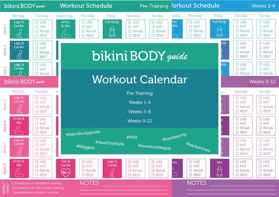 bikini body guide workout calendar etsy. Black Bedroom Furniture Sets. Home Design Ideas