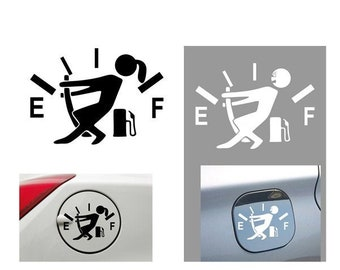 Everyday Funny Car Sticker Pull Fuel Tank Pointer Gas Consumption Decal Fuel Gage Empty Stickers Decoration Fuel Tank Cap Truck Motorcycle 1 Pcs- White