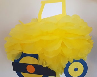 Construction Party Decorations Steam Roller Pompom Birthday Decoration Truck Supplies Christening Baptism 1st