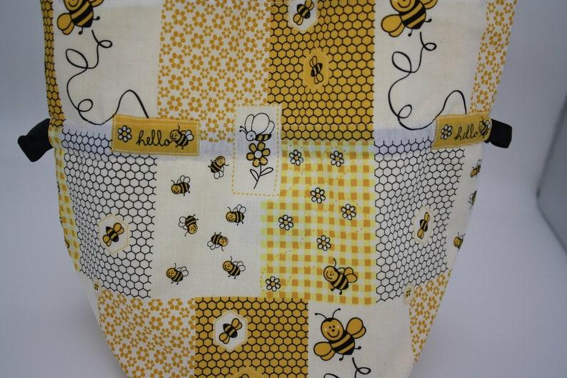 Dumpling bag Cute bag 100/% Cotton Gift bag Sock Project Bag Crochet Project Bag BumpyCrafts Knitting Project Bag Bee Project Bag
