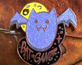 Bat Gang Hard Enamel Pin Copper Plated Spooky Chan Vampire Brooch Fashion Leather Jacket Halloween Art Goth Glitter Gothic Purple