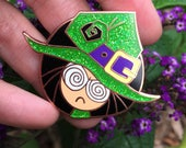 Witchy Cranky Poo Hard Enamel Pin Copper Plated Spooky Chan Goddess Brooch Fashion Leather Jacket Comics Machine OC Art Goth Glitter Witch