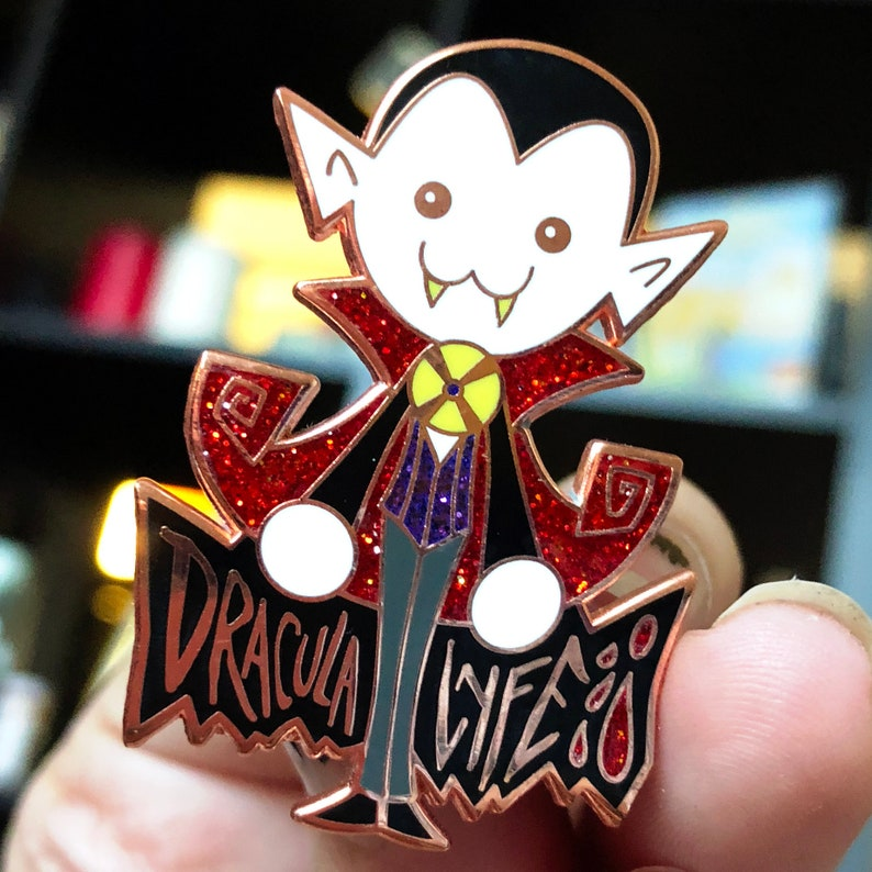 Dracula Lyfe Life Hard Enamel Pin Copper Plated Spooky Chan image 0