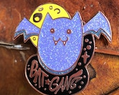 Bat Gang Hard Enamel Pin Copper Plated Spooky Chan Vampire Brooch Fashion Leather Jacket Halloween Art Goth Glitter Gothic Purple
