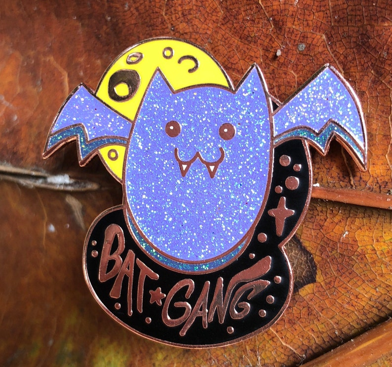 Bat Gang Hard Enamel Pin Copper Plated Spooky Chan Vampire image 0