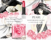 Pearl watercolor clipart fashion girl clip art floral watercolor shell pearl flower perfume red lipstick feather watercolor hat illustration