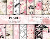 Pearl watercolor seamless paper pack fashion girl illustration floral shell pearl flower perfume red lipstick feather hat digital paper deco