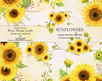 Sunflower Watercolor Flower clipart, Hand painted, DIY Clip Art, Handpainted floral, floral invitation, greeting card, romantic wedding pack