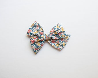 Forget-Me-Not Oversized Junie, *Celebration Price*, 4th of July Bow, Patriotic Bow, Floral Knotted Bow, Large Clip, Floral Headband