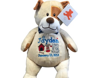Personalized stuffed Puppy,  Personalized Stuffed Dog, Keepsake dog toy, Personalized puppy, Stuffed Animal Adoption Gift, Baby Shower gift