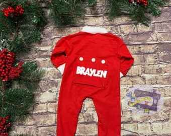 64ed28b6b Traditional Butt Flap Holiday Pajamas for kids, Custom Embroidered One  Piece Pajamas for babies, Christmas Family Picture Pajamas