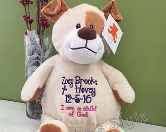 Personalized stuffed Puppy,  Personalized Stuffed Dog, Keepsake, Personalized baby gift, Stuffed Animal Adoption Gift, Baby Shower gift