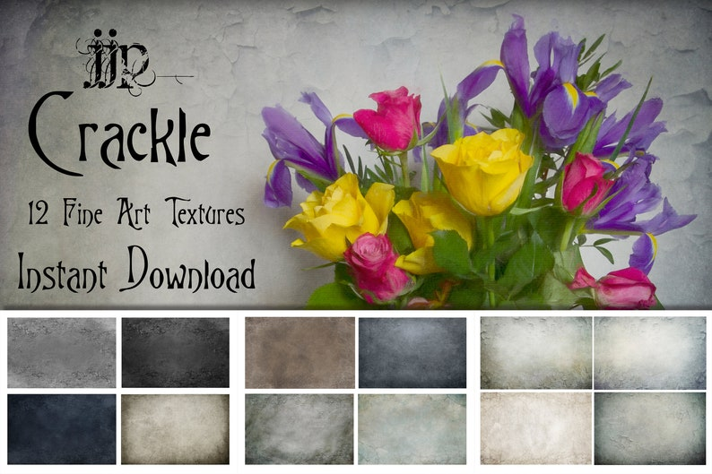 Crackle - 12 Fine Art Painterly Photoshop Texture Overlays  High  Resolution  Instant Digital Download