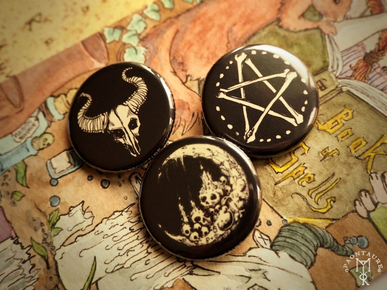 WITCHCRAFT set of 3 pins buttons badges 1 2inch / 32mm dark fantasy pagan  folk goth rock skull witches pentacle black moon ritual sabbath