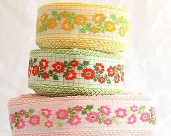 """Vintage Woven Jacquard Ribbon Trim / Pink, Yellow or Red & Green / Italian Embroidered Cotton Fabric Trim / 1.5"""" inch wide / by-the-yard"""